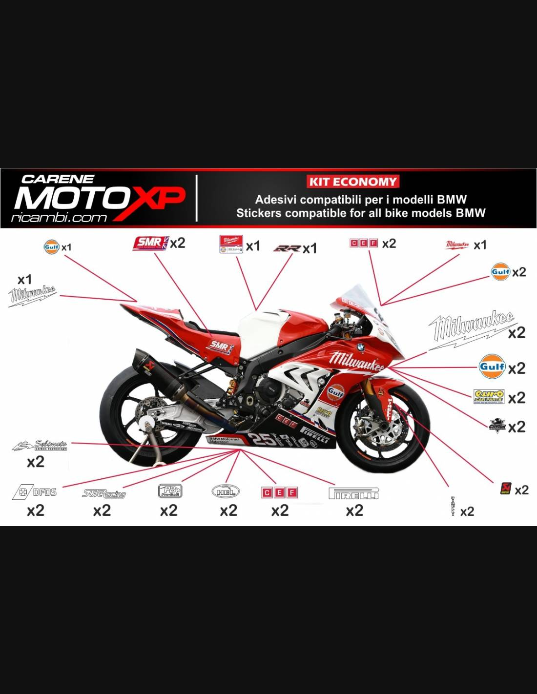 Sticker Set Compatible With Bmw S 1000rr 2009 2014 Mxpkad7992