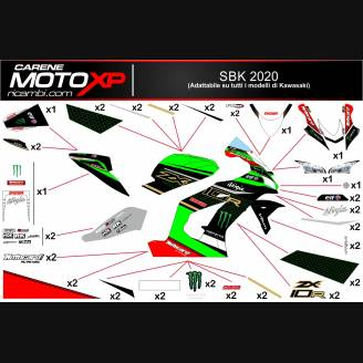 Sticker set compatible with Kawasaki Zx10R 2016 - 2020 - MXPKAD12748
